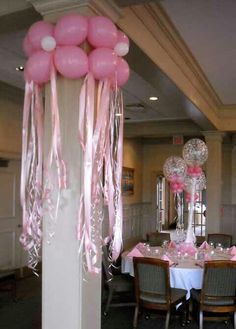 Balloons around the columns with the streamers below would be cute for a girl's birthday party or baby shower. Balloon Columns, Balloon Arch, Balloon Ideas, Balloon Flowers, Balloon Designs, Pink Flowers, Girl Birthday, Birthday Parties, Birthday Table