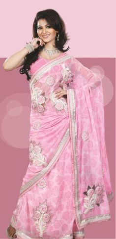 $105.68 Pink Faux Georgette Saree 18151 With Unstitched Blouse