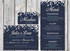 Hochzeitseinladung Winter Wonderland Blue/Silver von PaperLoversDesign auf DaWanda.com