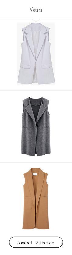 """Vests"" by legostep on Polyvore featuring outerwear, vests, vest, white, chiffon vest, white sleeveless vest, sleeveless vest, white vest, white waistcoat и vest waistcoat"