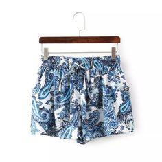 Dk275 nowych moda damska wzór paisley print szyfonowe spodenki rocznika niebieski elastyczne spodenki talia przyczynowych luźne szorty marki w Rozmiar odniesienia:S talia: 58-70 cm długość: 30 cmM talia: 60-75 cm    Długo od Szorty na Aliexpress.com | Grupa Alibaba