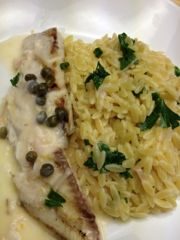 Grilled Talapia with lemon butter and Orzo!  Eating Dinner With My Family