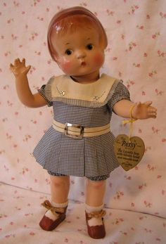 1929 Effanbee PATSY Doll -- ALL ORIGINAL w/Hang Tag in Suitcase /Several Outfits