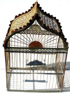 Tole painted cage early 20th c (archives sold Singkiang)