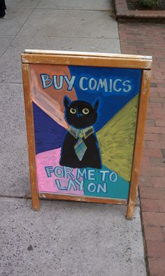 Sign outside of a comic shop
