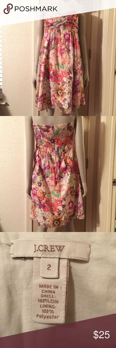 💖Strapless J. Crew Dress💖 Strapless J. Crew summer dress worn once. In very good condition. no holes, stains, wears or tears. Perfect for summer with Sandals very cute dress on!!😉 Mesh/Sheer Dress J. Crew Dresses Strapless