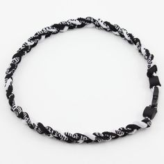 """NEW 20/"""" Custom Clasp Braided Sports Black White Tornado Necklace Twisted Rope"""