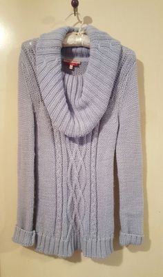 ⛄DIANA FERRARI COWL NECK CABLE KNIT JUMPER - BABY BLUE - 8 - PRE-LOVED