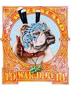 Signed edition of Lester Hall's War Dog print on sale at NZ Fine Prints. New Zealand Flag, New Zealand Art, Zealand Tattoo, Polynesian Art, Maori Designs, Tattoo Designs, Nz Art, Maori Art, War Dogs