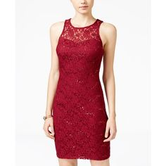 Sequin Hearts Juniors' Sequin Lace Lattice-Back Bodycon Dress ($79) ❤ liked on Polyvore featuring dresses, merlot, cutout dresses, bodycon dress, cut-out dresses, red lace dress and lace cocktail dress