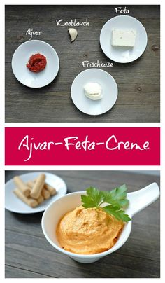 Diese Ajvar-Feta-Creme besteht aus nur 4 Zutaten und ist innerhalb von 5 Minuten … This Ajvar Feta Cream consists of only 4 ingredients and is within 5 minutes … Low Calorie Recipes, Quick Recipes, A Food, Food And Drink, Snacks Für Party, Cooking On The Grill, Fresh Bread, Finger Foods, Recipes