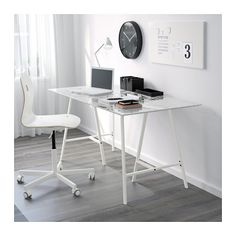 GLASHOLM / LERBERG Pöytä - lasi/kananmunakuvio valkoinen - IKEA