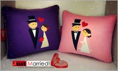Just Married ❥ Handmade Felted Pillows For Cute Couples! designed & made by FD. FOREVER