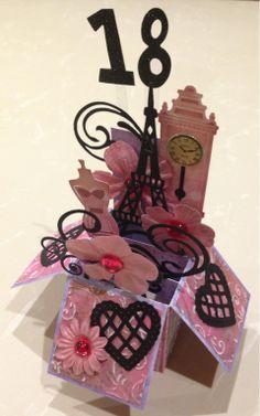 Card in a box 18th birthday. Made by Karin Dalton-Smith @Karin H H H H H Dalton-Smith  That's just beautiful Sis.
