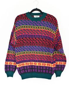 af434c9a052 Vintage United Colors of Benetton Ugly Dad Sweater Geometric Italy Medium