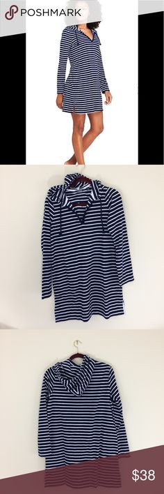 "🆕LISTING NWOT Lands' End Terry hoodie cover up Brand new but no tag! Lands' End terry hoodie cover up in ""deep sea sailor stripe"". See pictures for more description and measurements. Have a question leave it in the comments. Lands' End Swim Coverups"