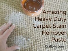 This natural Carpet cleaner paste, is heavy duty for the biggest of stains. Make the paste and rub it deep into the carpet then allow it to dry. This recipe is great for removing pet stains too.