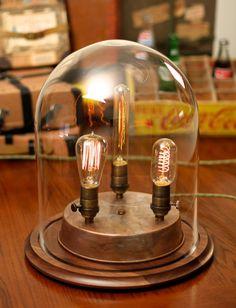 Edison Lamp, Vintage bell jar table lamp, industrial lamp, edison bulb, steampunk lamp, antique
