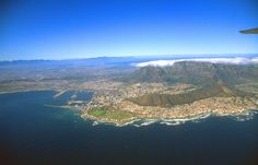 Beautiful panoramic shot Cape Town with Table Mountain. The stadium had not been built yet.