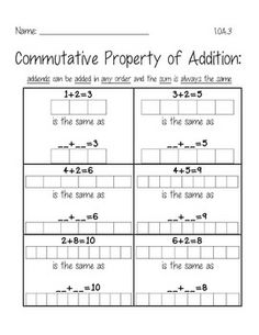 1st Grade Math and Literacy Worksheets for February | Commutative ...
