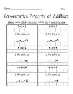 Commutative Property of Addition | Addition Worksheets | Pinterest ...