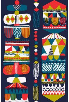 Marimekko Toteemi Fabric Blue/Petrol/Red | Kiitos Marimekko