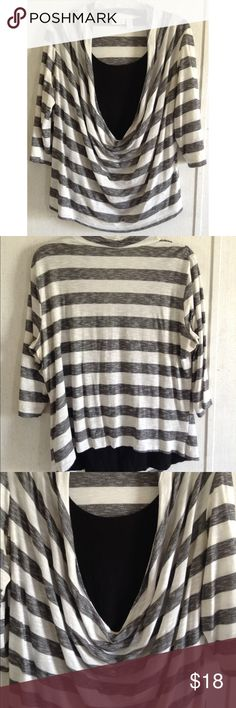 Chico's Striped Cowl Neck Top Some wash wear/pilling. Wear and yellowing in the underarms. Super cute Chico's top. Like a twinset with a white striped outer, and one solid black piece inside. Draped cowl neck down the front, scoop neck inside. 3/4 length sleeves. Chico's size 3. Like a regular 16 XL. All offers welcome Chico's Tops Blouses