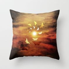 Butterfly spiral to the sun Throw Pillow by Viviana González - $20.00