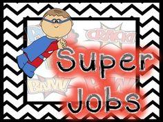 Super Jobs for your superhero themed classroom! Follow me on tpt #brookesbundles