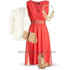Pretty coral dress.. this would be perfect for cruise formal nights! would look good with my nude sandals. https://www.stitchfix.com/referral/4077338