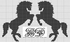 HORSES (no color chart available, just use photo/pattern chart as your… Cross Stitch Horse, Cross Stitch Animals, Cross Stitch Charts, Cross Stitch Patterns, Filet Crochet Charts, Knitting Charts, Crochet Horse, Horse Pattern, Tapestry Crochet