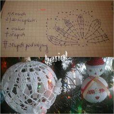 Szydelko Crochet Christmas Ornaments, Christmas Crochet Patterns, Crochet Snowflakes, Ball Ornaments, Christmas Baubles, Christmas Cross, All Things Christmas, Christmas Decorations, Crochet Ball