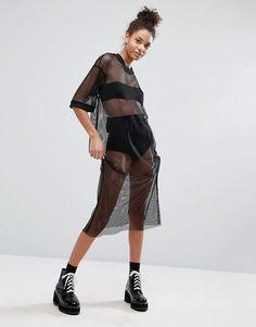 Monki Mesh T-Shirt Midi Dress