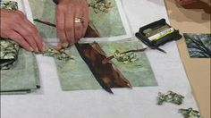 """Landscape Quilting Workshop Part 1 Video from Sewing with Nancy. Nancy and her quilting mentor Natalie Sewell show you how to cut, shade, paint, and stipple trees. Their landscape quilt designs feature light and dark plus distant and close-up trees. Learn """"messy cutting,"""" shading/highlighting with various mediums, and learn how to stipple in a way that adds dimension to the trees."""