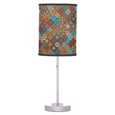 Colorful abstract tile pattern design desk lamp