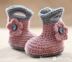 "How cute! Crochet Rain Boots, girls and boys. ""I need to learn to crochet now"""