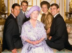 His Royal Highness Prince Charles, His Royal Highness Prince Edward, Her Royal Highness Princess Anne, and His Royal Highness Prince Andrew surround their grandmother in this 1985 portrait by Norman Parkinson  Picture: Norman Parkinson/Sygma/Corbis