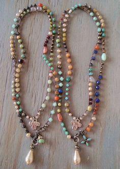 Colorful long crochet wrap necklace Bohemian by slashKnots, $197.00