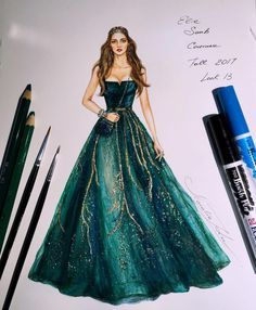 "1,990 Likes, 21 Comments - NataliaZ.Liu (@nataliazorinliu) on Instagram: ""Gorgeous Elie Saab Couture gown Fall 2017 @eliesaabworld (Faber Castell watercolour pencils…"""