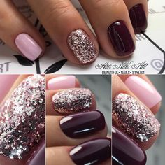 54 Autumn Fall Nail Colors Ideas You Will Love Burgundy & Pink nails. Are you looking for autumn fall nail colors design for this autumn? See our collection full of cute autumn fall nail matte colors design ideas and get inspired! Pink Gel Nails, Dark Nails, Fancy Nails, Matte Nails, Love Nails, Trendy Nails, Opi Shellac, Acrylic Nails, Dark Purple Nails