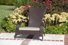 Patio Sense Coconino Wicker Chair All Weather Wicker Construction Beautiful Mocha Finish Beige Outdoor Cushion Included Zero Maintenance Easy Assembly Lightweig Outdoor Wicker Chairs, Adirondack Chairs For Sale, Outdoor Cushions, Patio Chairs, Outdoor Seating, Patio Furniture Makeover, Wicker Furniture, Outdoor Furniture, Courtyards