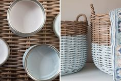 Looking for inspiration for upcycling baskets? The wonderfully talented blogger Laura uses Laura Ashley paint to update these gorgeous baskets...