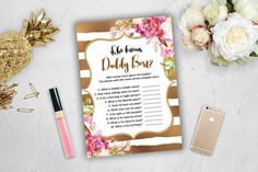 Who Knows Daddy Best Baby Shower Game Girl Pink Gold White Spade Stripes Glitter…