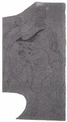 Picasso. Caballo y toro, Mayo de 1937 Lápiz sobre cartón amarillo-marrón. 22,7 x 12,1cm. Estudio para el Guernica. (Todos los bocetos están expuestos junto al Guernica en el Museo Reina Sofía de Madrid.)