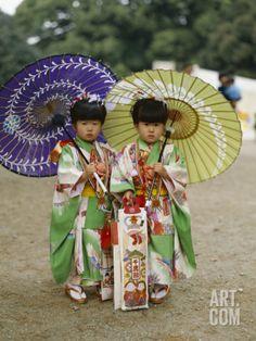 Girls Dressed in Kimono, Shichi-Go-San Festival (Festival for Three, Five, Seven Year Old Children) Photographic Print at Art.com
