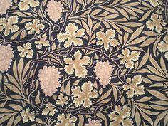 Vintage Sanderson Cotton Fabric Vine by William Morris on Black Pink Grapes | eBay