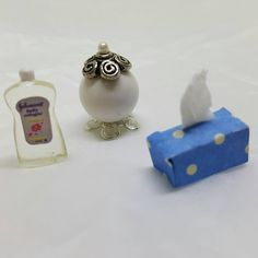 Miniature Tissue Baby oil bottle and Perfume Doll House Toy Bedroom bathroom #dollhouseminiatures #etsyseller