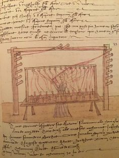 "Trattato dell'arte della seta, cap. 42 cc. 29r-29v fig. 33 ""Delle orditure"" Medieval Crafts, Weaving Looms, Textiles, Firenze, Art Reference, Spinning, Needlework, Geek Stuff, Silk"