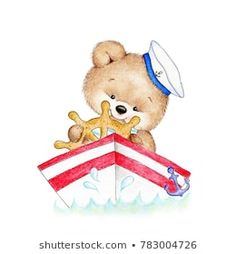 Cute Teddy bear driving a boat - Buy this stock illustration and explore similar illustrations at Adobe Stock Teddy Bear Drawing, Teddy Bear Cartoon, Cute Teddy Bears, Tatty Teddy, Bear Watercolor, Cute Paintings, Bear Art, Kids Prints, Cute Illustration