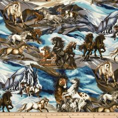 North American Wildlife 3 Horse Collage Nature from @fabricdotcom  Designed by Jody Bergsma for Robert Kaufman, this cotton print is perfect for quilting, apparel and home decor accents.  Colors include shades of blue, brown, white, grey, and charcoal.